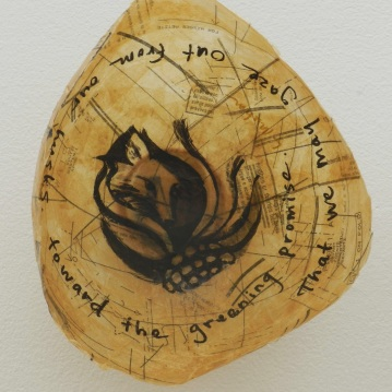 Litany Bowl, REASSURANCES exhibit, Cedar Crest College with poetry by LouAnn Shepard Muhm.