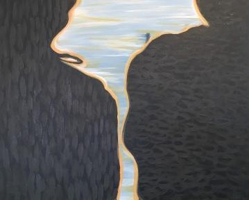 "Between Us & Morning Light, 2016, acrylic paint, 30"" x 24"""