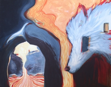 """Between Memory & Mother Wolf, 2016, acrylic paint, 30"""" x 24"""""""